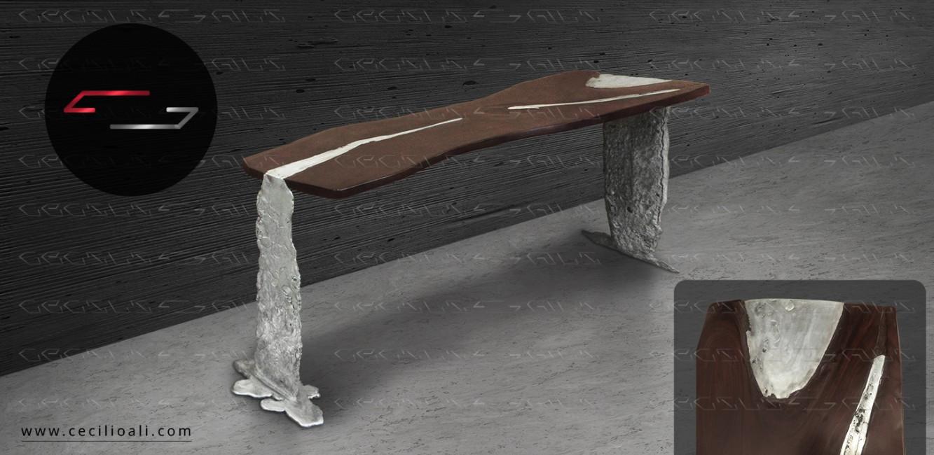 Credenza_mesa_tablon_parota_aluminio_fundido_mueble_conceptual_arte_objeto_decoracion_autor_cecilio_ali_artista_mexicano