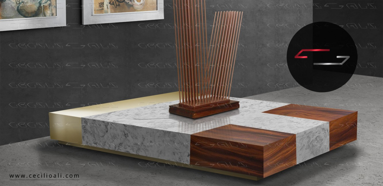 Mesa_centro_laton_madera_Parota_Marmol_de_Carrara_muebles_contemporaneos_interiorismo_natural_organico