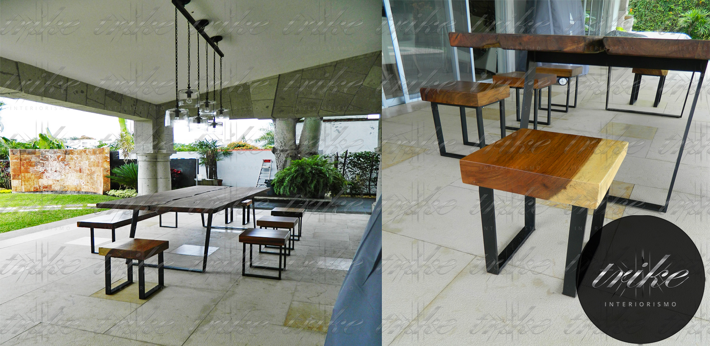 Bancos madera de parota trike interiorismo - Mesas de tablones de madera ...