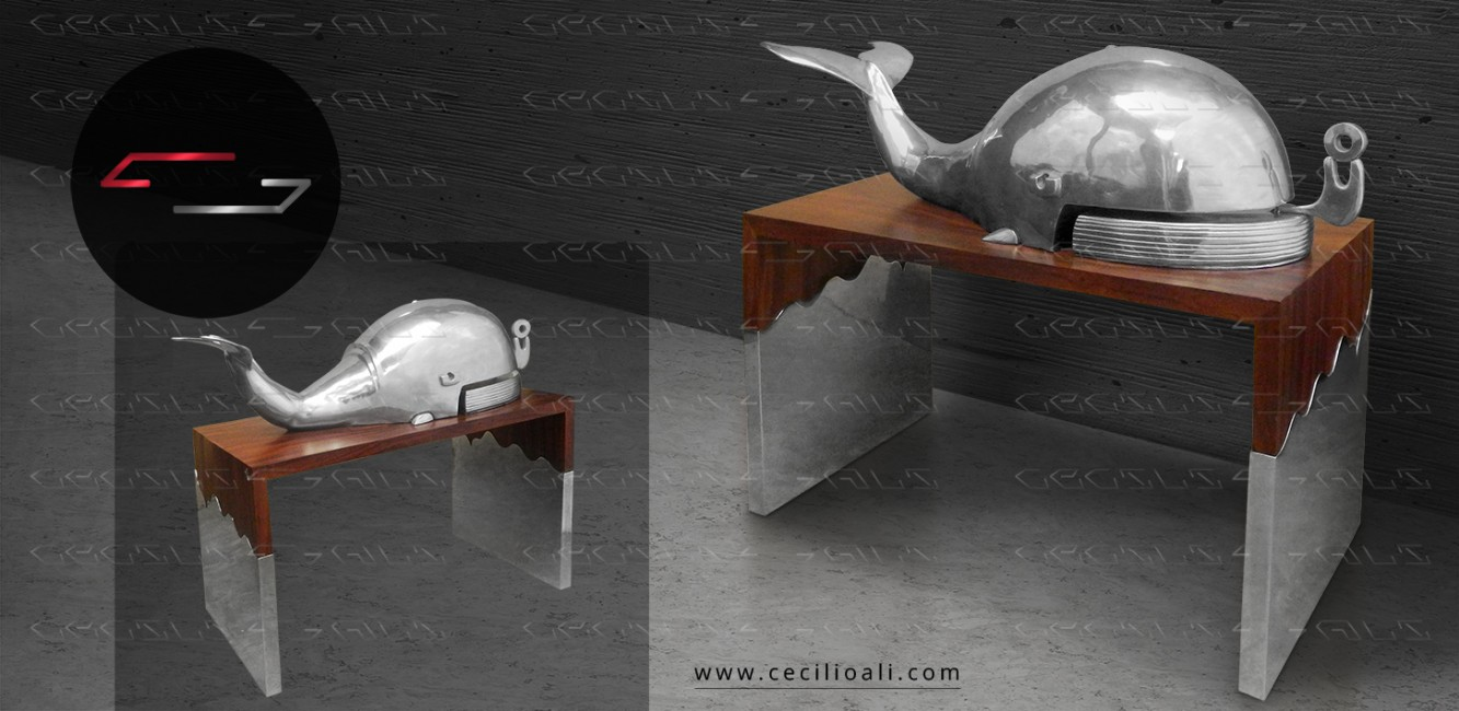 Escultura_de_acero_cromada_mesa_de_parota_natural_organica_de_arbol_base_acero_arte_decoracion