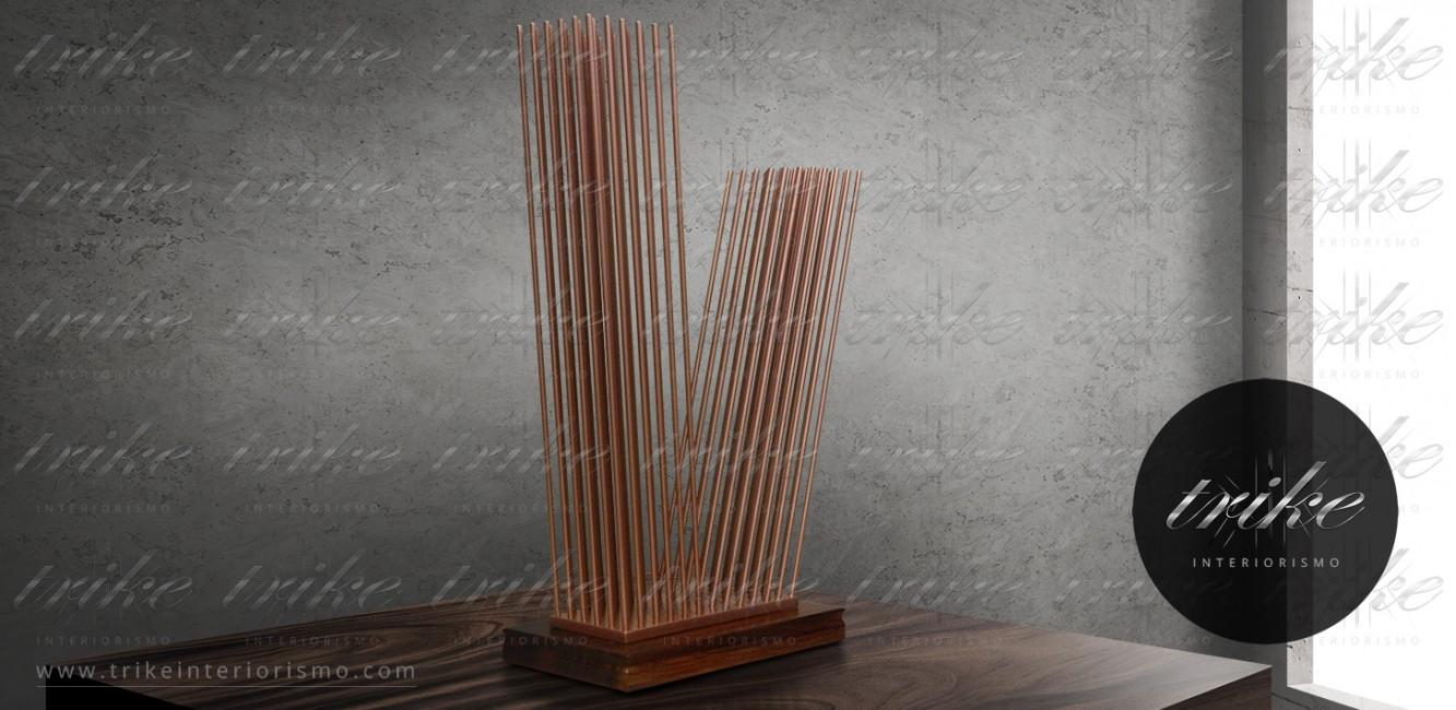 Esculturas_acero_esmaltado_base_maderas_rescatadas_parota_arte_decoracion_interiorismo