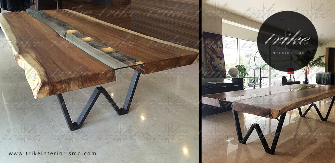 Mesa_Tablon_Banca_PAROTA_decoracion_muebles_cuernavaca_interiorismo_natural_organico_raices_cristal_acero