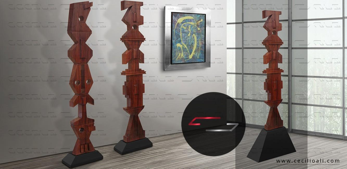 Totems_Parota_acero_escultura_madera_arbol_tronco_arte_natural_organico_interiorismo_decoracion
